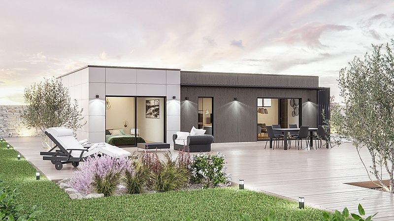 Maison contemporaine cubique à toit plat une architecture moderne